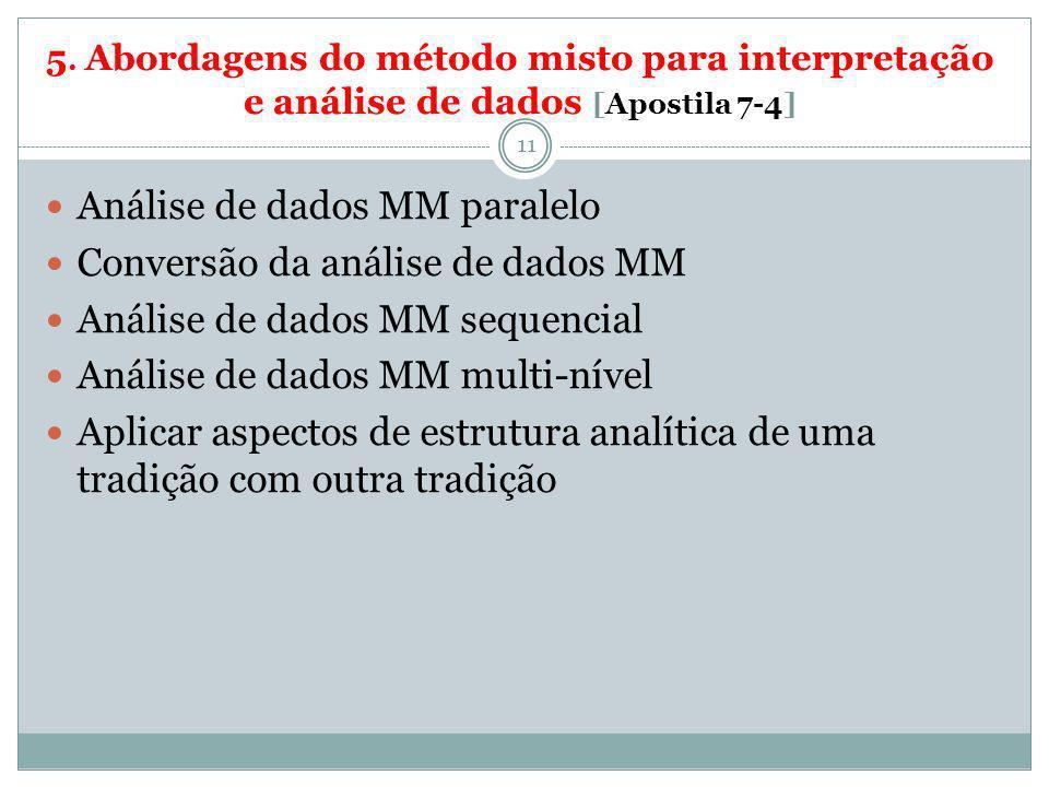 5. Abordagens do método misto para interpretação e análise de dados [Apostila 7-4] 11 Análise de dados MM paralelo Conversão da análise de dados MM An
