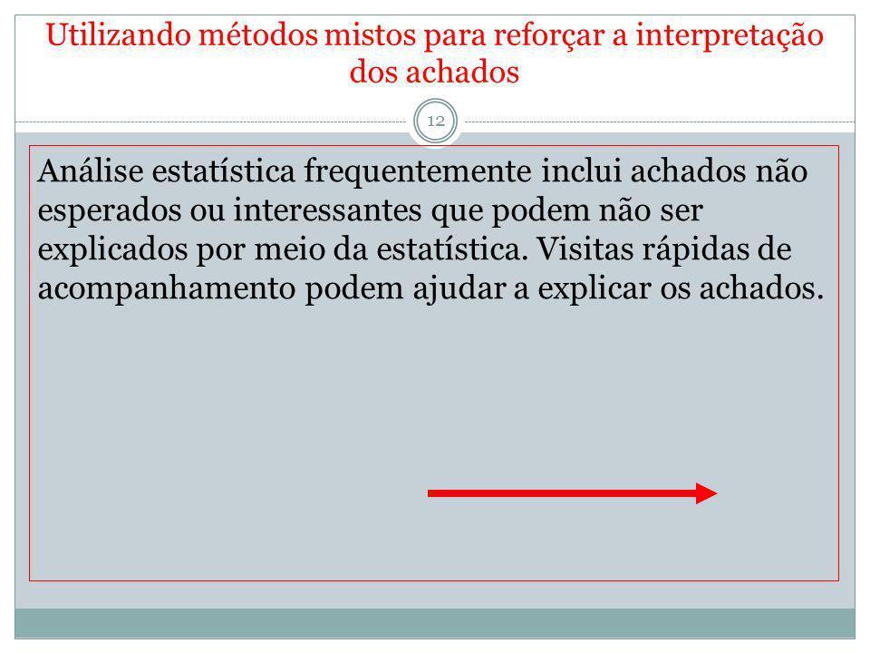 Utilizando métodos mistos para reforçar a interpretação dos achados 12 Análise estatística frequentemente inclui achados não esperados ou interessante