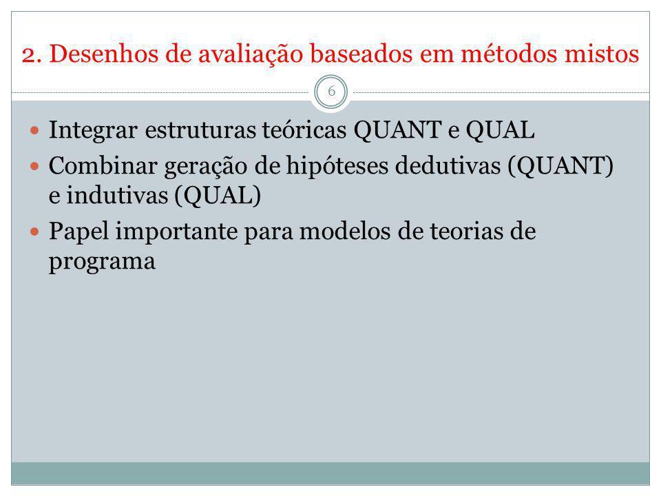 2. Desenhos de avaliação baseados em métodos mistos 6 Integrar estruturas teóricas QUANT e QUAL Combinar geração de hipóteses dedutivas (QUANT) e indu