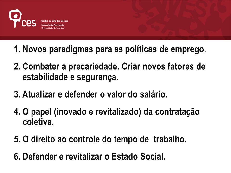 1. Novos paradigmas para as políticas de emprego. 2. Combater a precariedade. Criar novos fatores de estabilidade e segurança. 3. Atualizar e defender