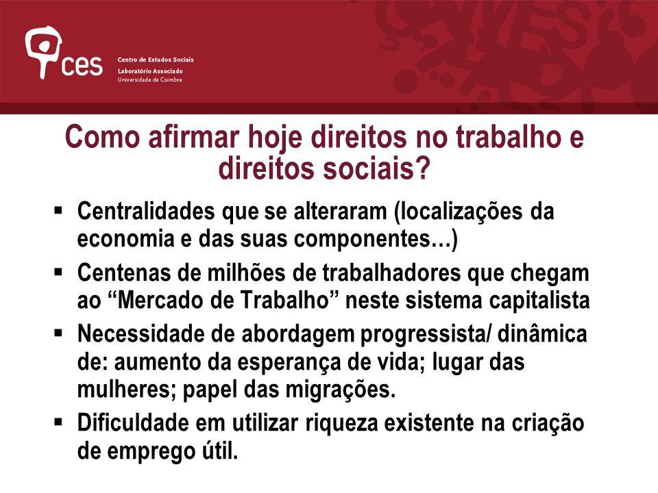 Como afirmar hoje direitos no trabalho e direitos sociais? Centralidades que se alteraram (localizações da economia e das suas componentes…) Centenas