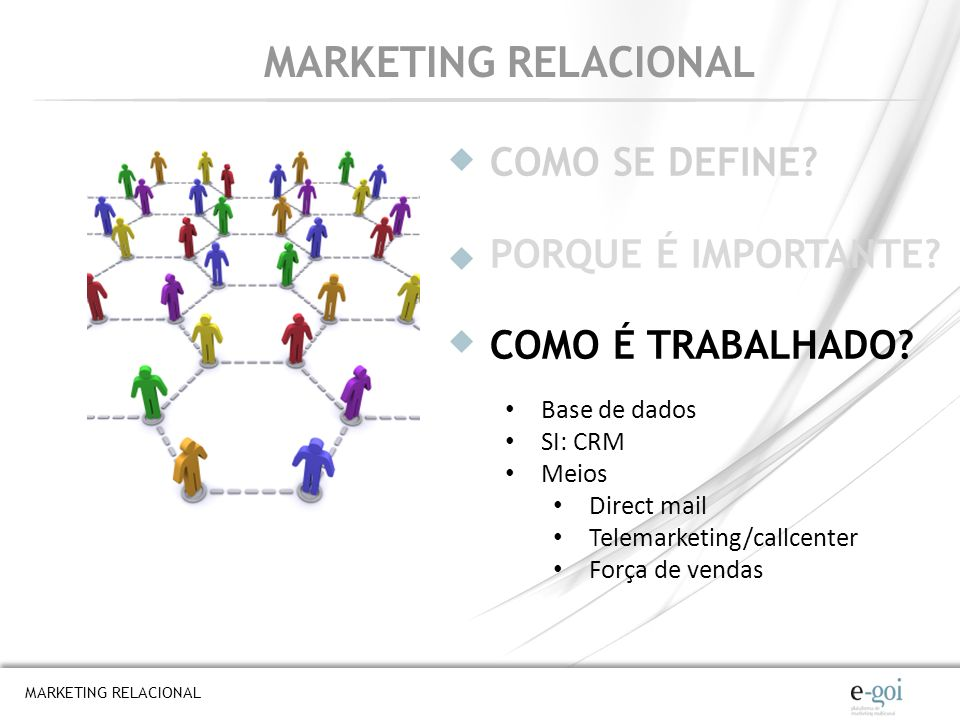 MARKETING RELACIONAL COMO SE DEFINE? PORQUE É IMPORTANTE? COMO É TRABALHADO? Base de dados SI: CRM Meios Direct mail Telemarketing/callcenter Força de