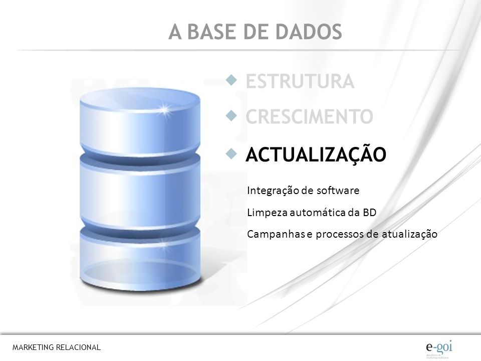 MARKETING RELACIONAL A BASE DE DADOS ESTRUTURA ACTUALIZAÇÃO CRESCIMENTO Integração de software Limpeza automática da BD Campanhas e processos de atual