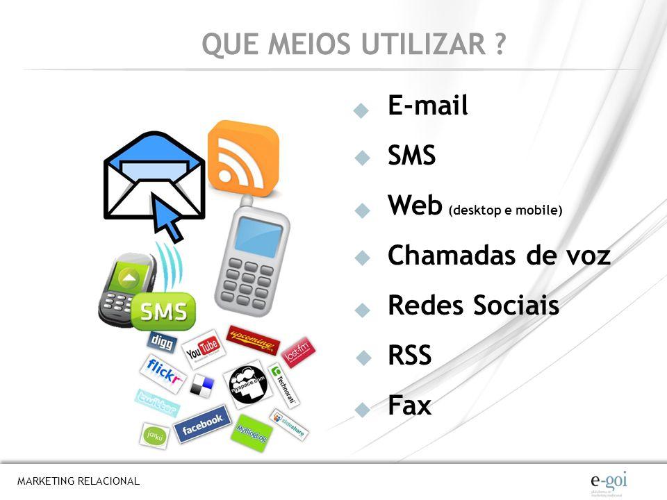MARKETING RELACIONAL QUE MEIOS UTILIZAR ? E-mail SMS Web (desktop e mobile) Chamadas de voz Redes Sociais RSS Fax
