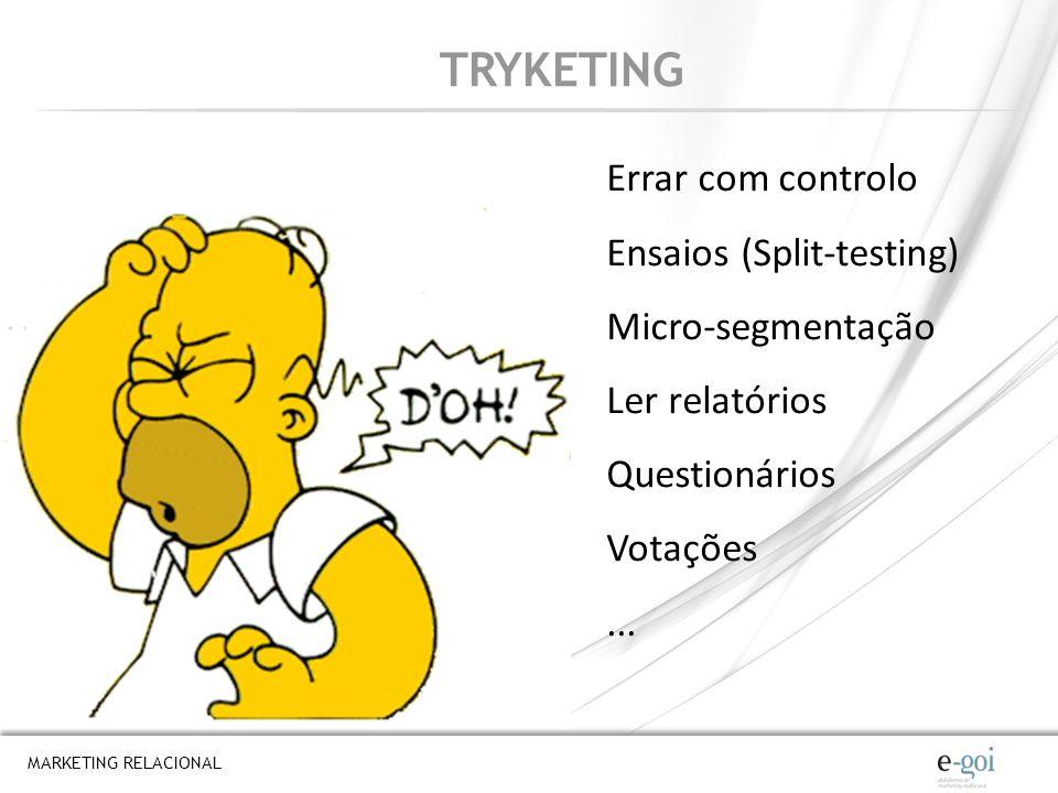 MARKETING RELACIONAL TRYKETING Errar com controlo Ensaios (Split-testing) Micro-segmentação Ler relatórios Questionários Votações...