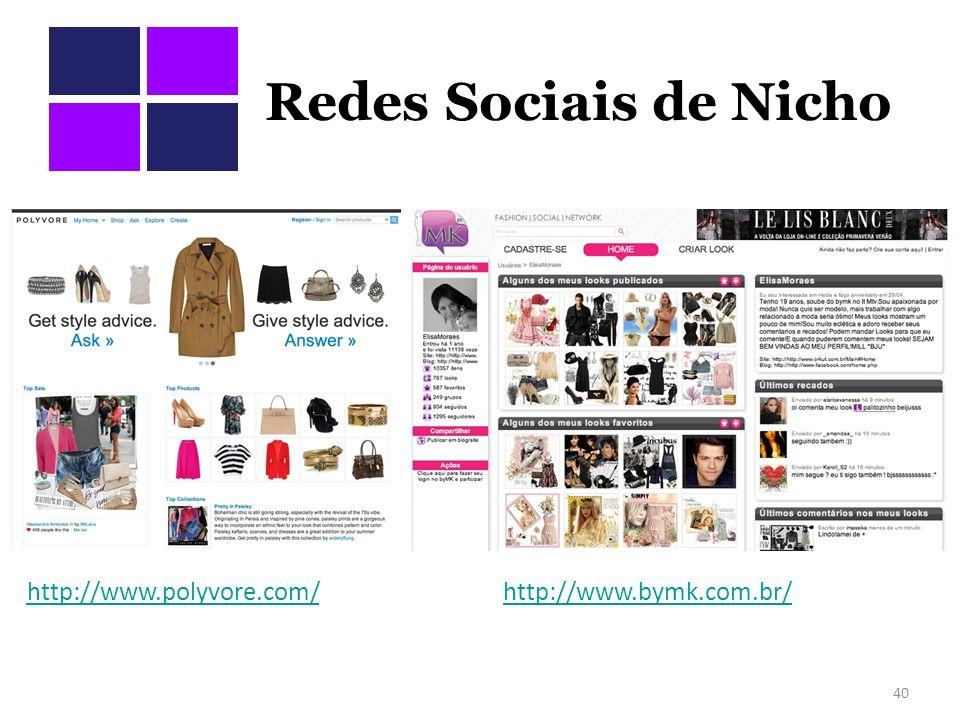 Redes Sociais de Nicho 40 http://www.polyvore.com/http://www.bymk.com.br/