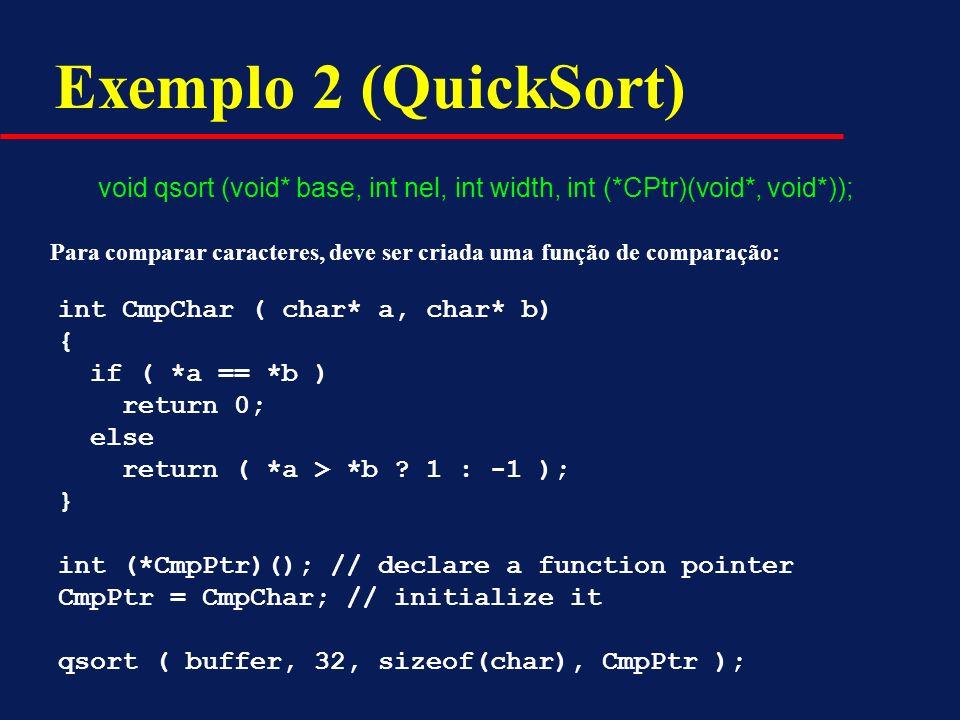 Exemplo 2 (QuickSort) void qsort (void* base, int nel, int width, int (*CPtr)(void*, void*)); int CmpChar ( char* a, char* b) { if ( *a == *b ) return