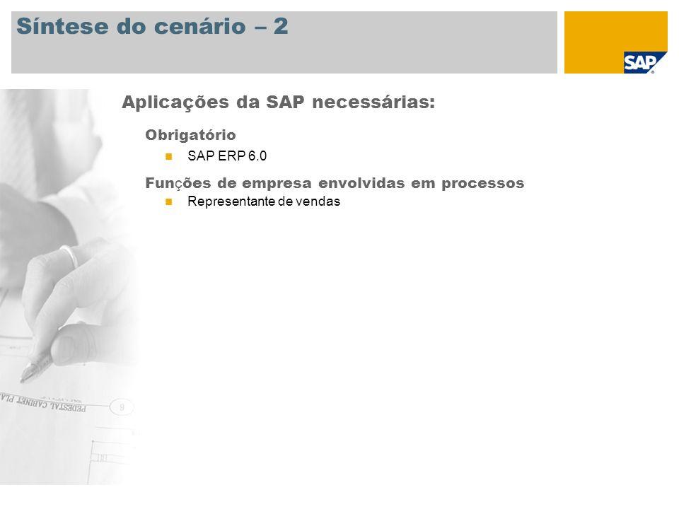 Síntese do cenário – 2 Obrigatório SAP ERP 6.0 Fun ç ões de empresa envolvidas em processos Representante de vendas Aplicações da SAP necessárias: