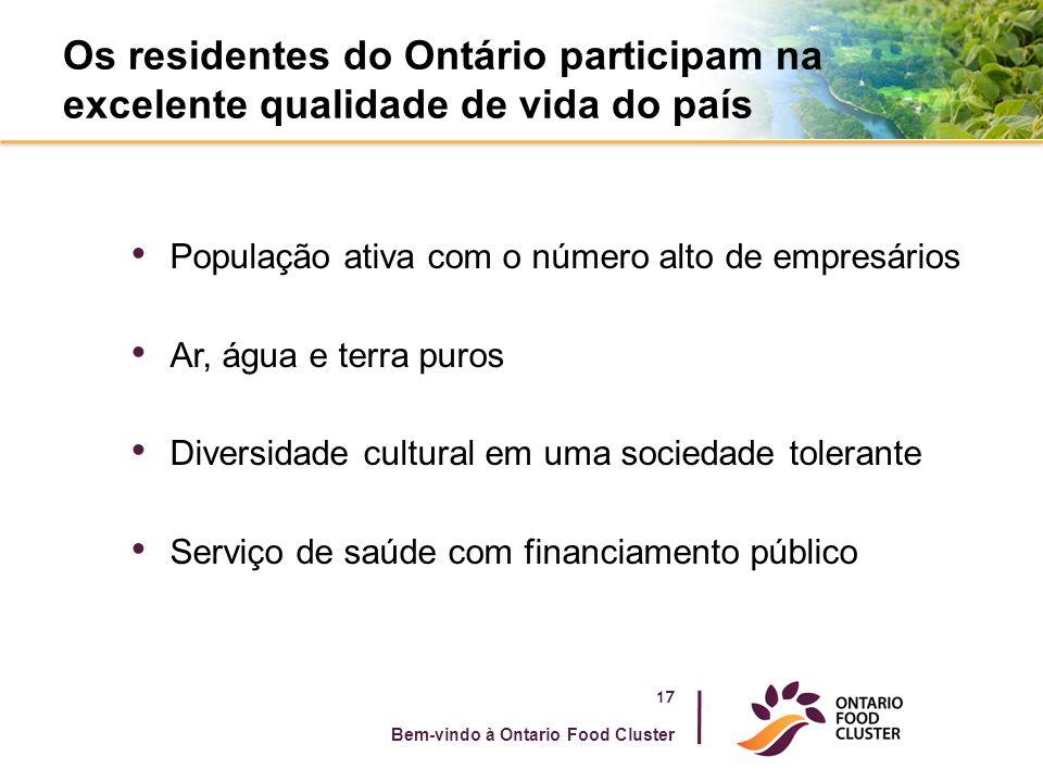 Os residentes do Ontário participam na excelente qualidade de vida do país População ativa com o número alto de empresários Ar, água e terra puros Div