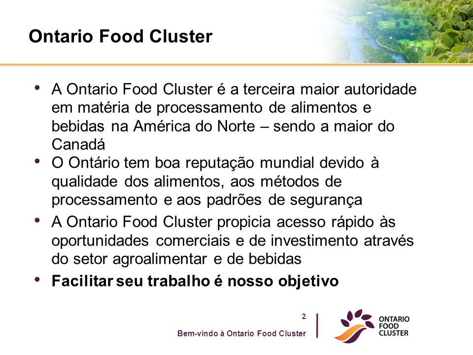 Ontario Food Cluster A Ontario Food Cluster é a terceira maior autoridade em matéria de processamento de alimentos e bebidas na América do Norte – sen