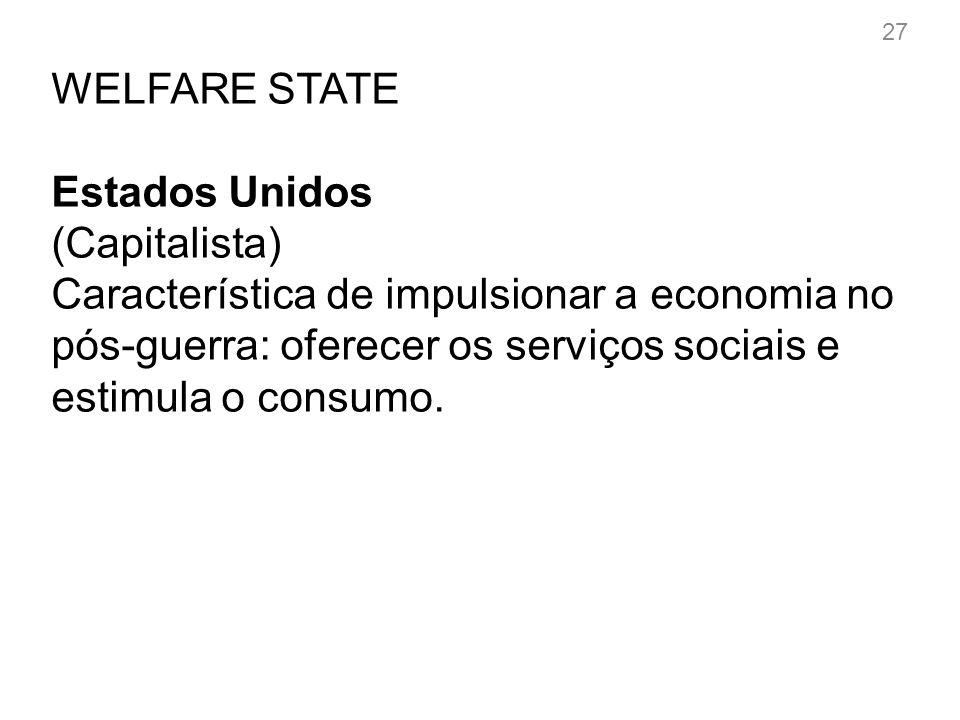WELFARE STATE Países europeus (social-democratas) Amplia direitos de cidadania e a distribuição de renda.