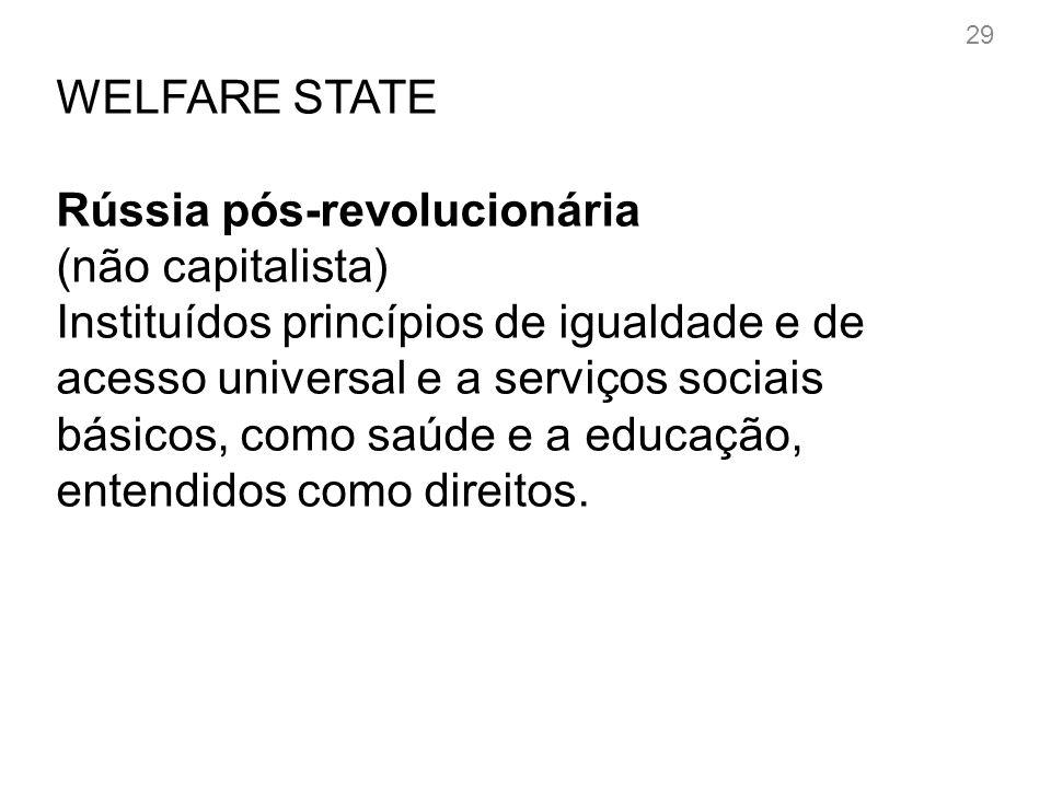 WELFARE STATE A partir da década de 1940 (pós-guerra) Desenvolvimento das ideias mais universalistas.