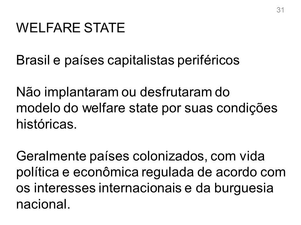 WELFARE STATE Brasil e países capitalistas periféricos Características desfavoráveis: -Foco em extrativismo.