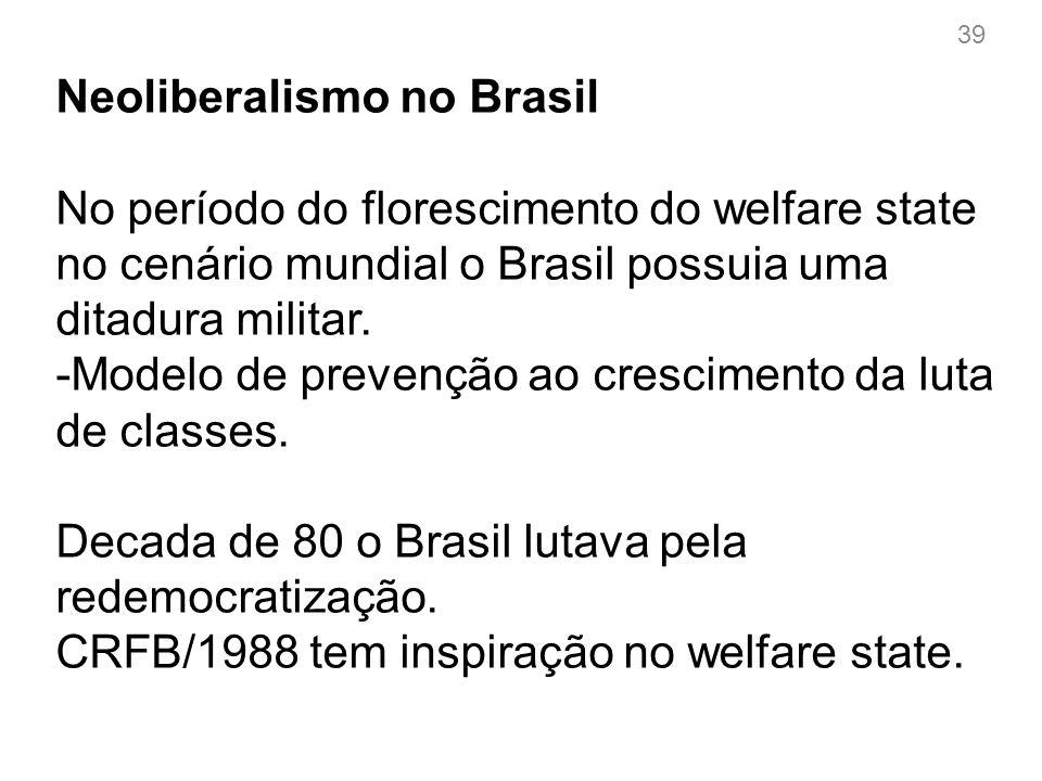 Neoliberalismo no Brasil Implantação do neo-liberalismo no Brasil ocorre na década de 1990.