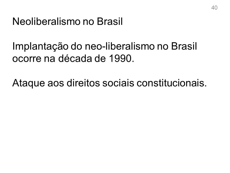 1992- Fernando Collor de Mello Introduz implicitamente o projeto neoliberal.