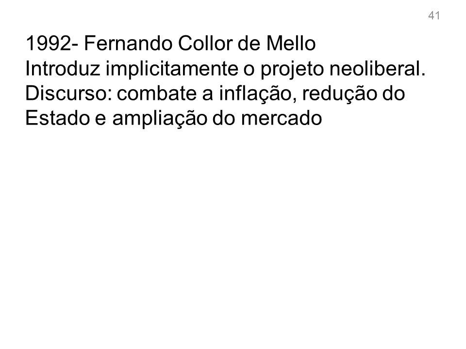 1994- Fernando Henrique Cardoso Introduz explicitamente o projeto neoliberal.