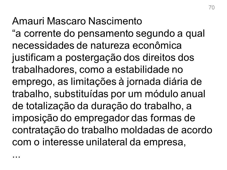 Amauri Mascaro Nascimento a corrente do pensamento segundo a qual necessidades de natureza econômica justificam a postergação dos direitos dos trabalh