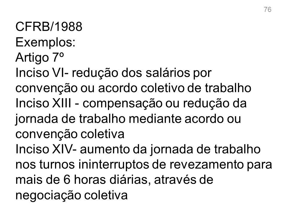 CFRB/1988 Alcance do Art.7º,XXVI XXVI - reconhecimento das convenções e acordos coletivos de trabalho; Debate: 77
