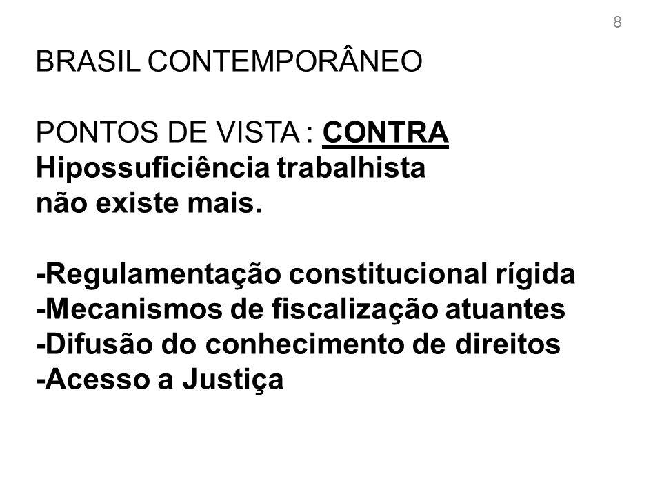 BRASIL CONTEMPORÂNEO PONTOS DE VISTA: A FAVOR Hipossuficiência trabalhista existe cada mais.