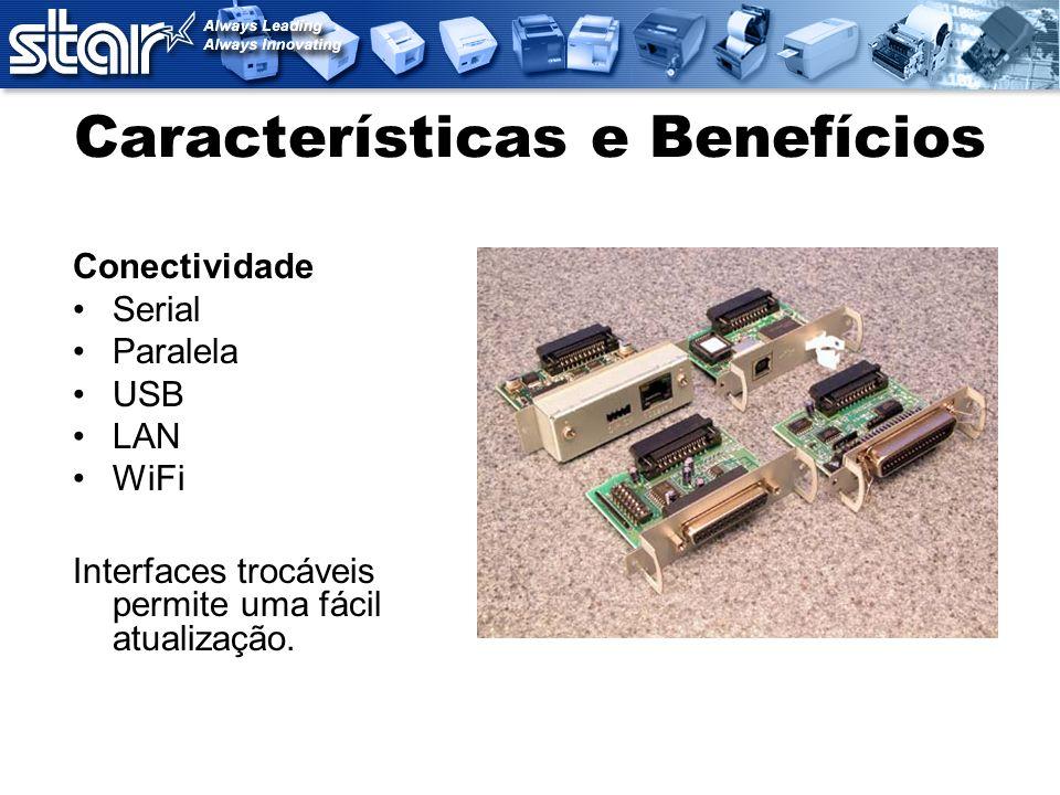 Características e Benefícios Conectividade Serial Paralela USB LAN WiFi Interfaces trocáveis permite uma fácil atualização.
