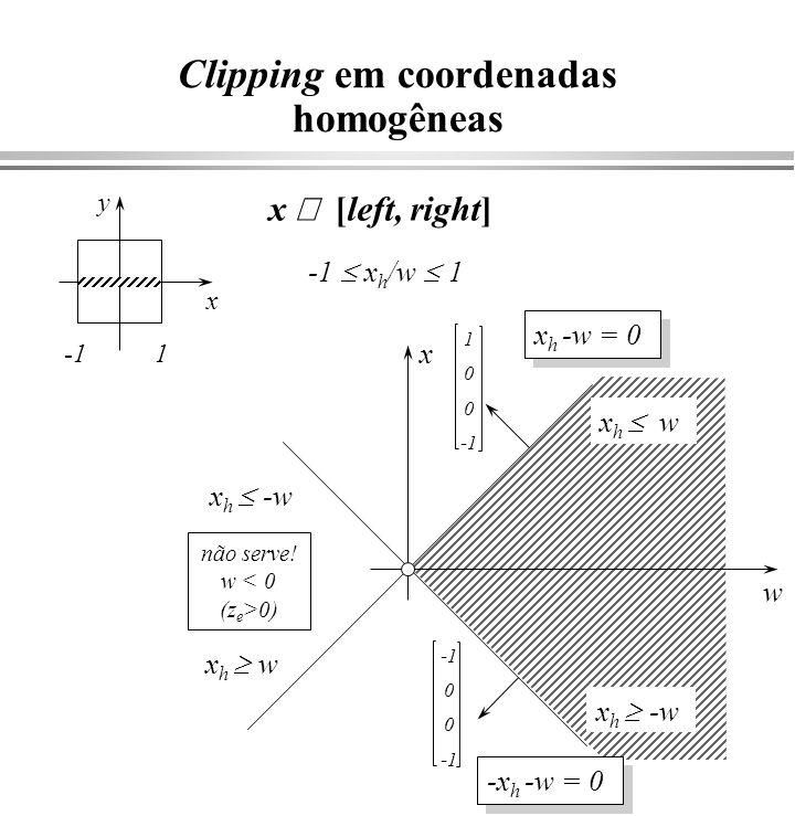 O Equação de um plano N=(A,B,C) P=(x,y,z) x y z P0P0 N.P = N.(P 0 + P) = N.P 0 = d P d = Ax + By + Cz d N.P = Ax + By + Cz Ax + By + Cz +D = 0 (A, B, C) = N e D = -d = N.(-P 0 ) (A, B, C) = N e D = -d = N.(-P 0 ) (N.
