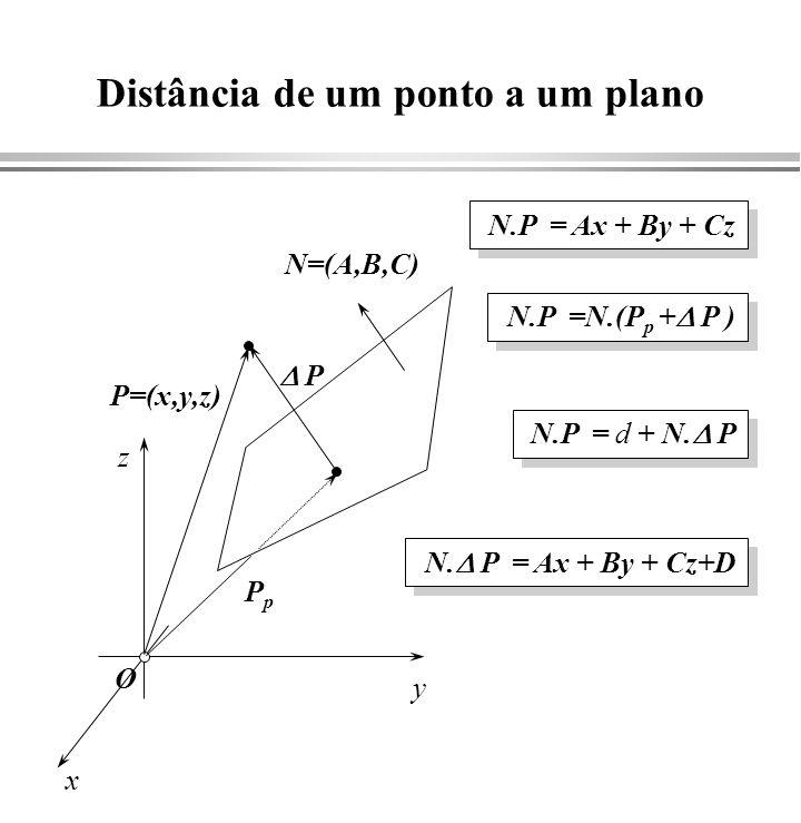 Interseção de reta com plano P1P1 P2P2 x y z d 1 =   Ax 1 + By 1 + Cz 1 +D   d1d1 d2d2 d 2 =   Ax 2 + By 2 + Cz 2 +D   P P = d 1 P 2 + d 2 P 1 d 1 + d 2