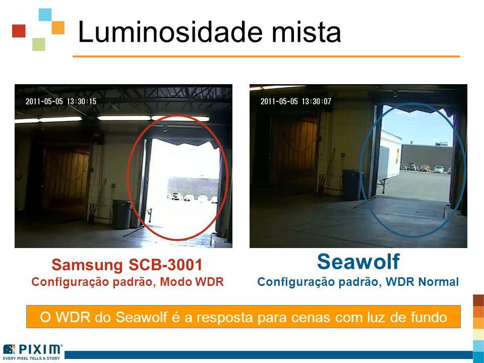 Luminosidade mista O WDR do Seawolf é a resposta para cenas com luz de fundo Samsung SCB-3001 Configuração padrão, Modo WDR Seawolf Configuração padrã