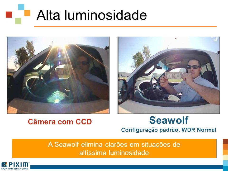 Alta luminosidade Câmera com CCD Seawolf Configuração padrão, WDR Normal A Seawolf elimina clarões em situações de altíssima luminosidade