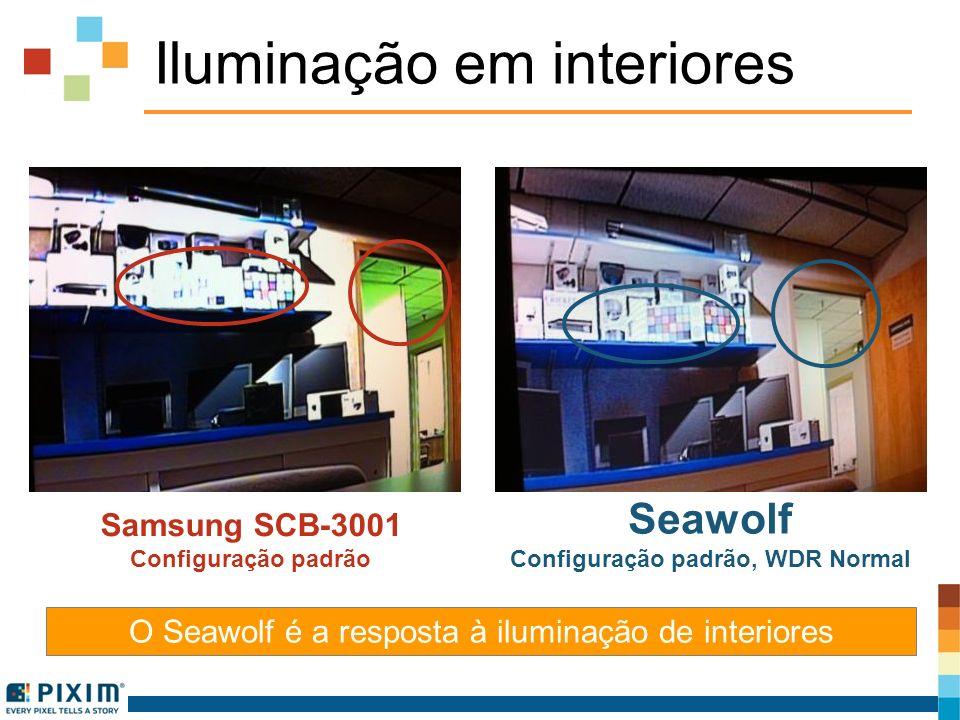Iluminação em interiores O Seawolf é a resposta à iluminação de interiores Samsung SCB-3001 Configuração padrão Seawolf Configuração padrão, WDR Norma