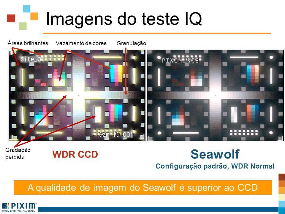 Imagens do teste IQ A qualidade de imagem do Seawolf é superior ao CCD WDR CCD Seawolf Configuração padrão, WDR Normal Áreas brilhantes Vazamento de c