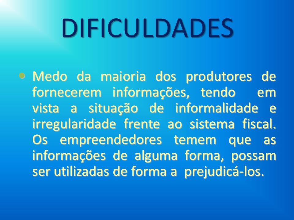 DIFICULDADES Medo da maioria dos produtores de fornecerem informações, tendo em vista a situação de informalidade e irregularidade frente ao sistema f