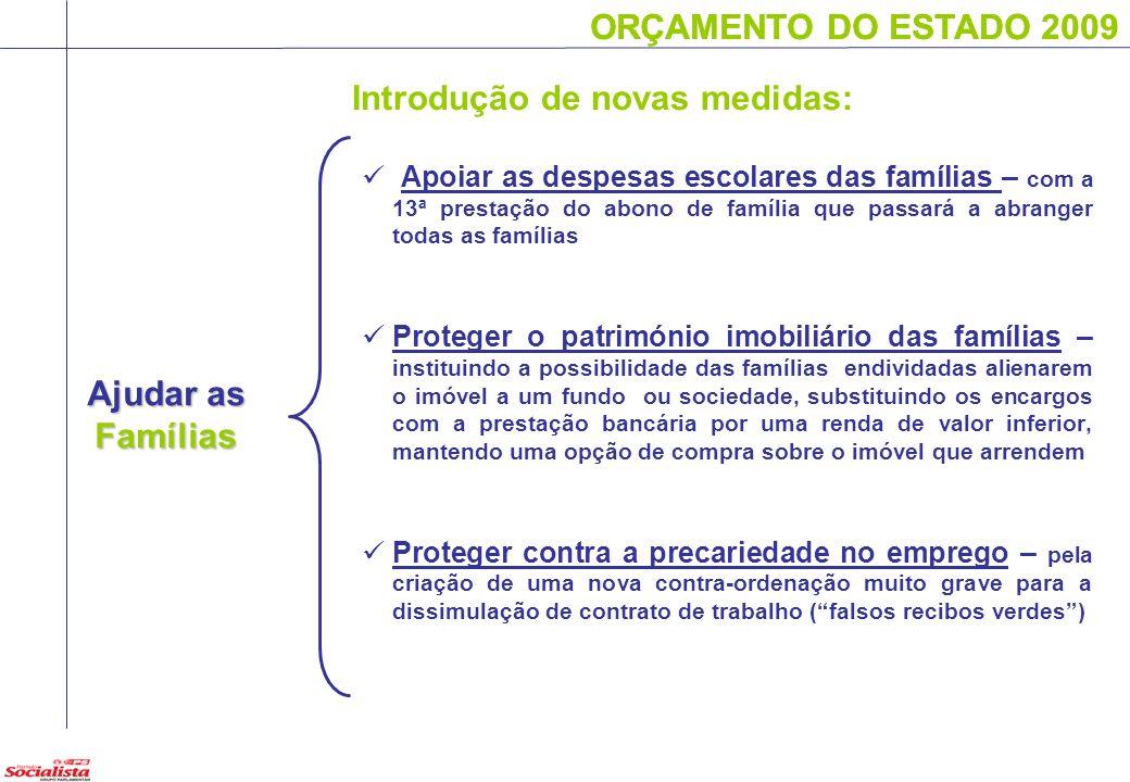 ORÇAMENTO DO ESTADO 2009 Ajudar as Famílias ORÇAMENTO DO ESTADO 2009 Apoiar as despesas escolares das famílias – com a 13ª prestação do abono de famíl