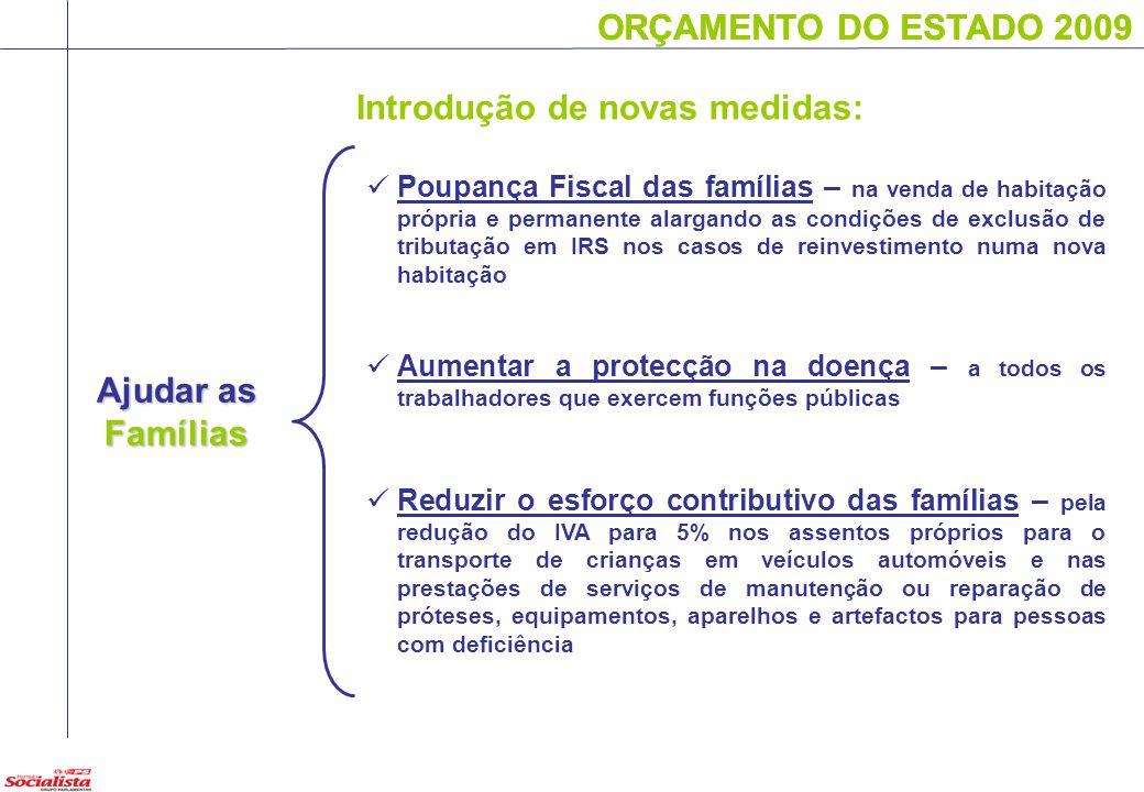 ORÇAMENTO DO ESTADO 2009 Ajudar as Famílias ORÇAMENTO DO ESTADO 2009 Poupança Fiscal das famílias – na venda de habitação própria e permanente alargan