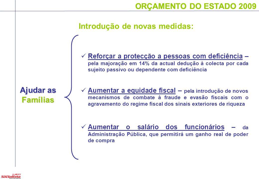 ORÇAMENTO DO ESTADO 2009 Ajudar as Famílias ORÇAMENTO DO ESTADO 2009 Reforçar a protecção a pessoas com deficiência – pela majoração em 14% da actual