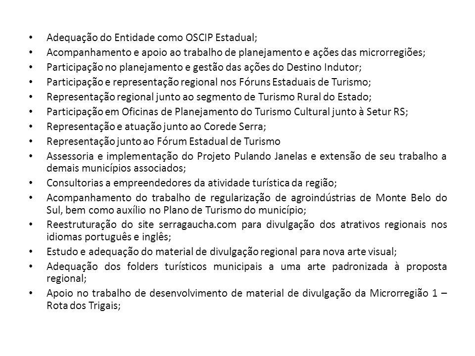 Adequação do Entidade como OSCIP Estadual; Acompanhamento e apoio ao trabalho de planejamento e ações das microrregiões; Participação no planejamento