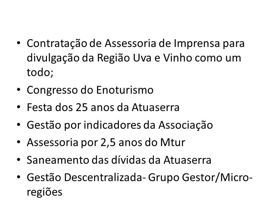 Contratação de Assessoria de Imprensa para divulgação da Região Uva e Vinho como um todo; Congresso do Enoturismo Festa dos 25 anos da Atuaserra Gestã
