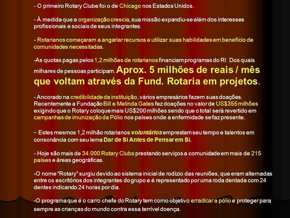 BRASIL Número de Clubes: 2.368 Número de Rotarianos: 55.997 Número de Distritos: 38 Número de Rotarianas no Brasil: 11.966 Rotaract Clubs 734 Rotaractianos16.856 Interact Clubs 836 Interactianos19.205 N.R.D.C ( Núcleo Rotário de Desenvolvimento Comunitário) 342 Sócios N.R.D.C.