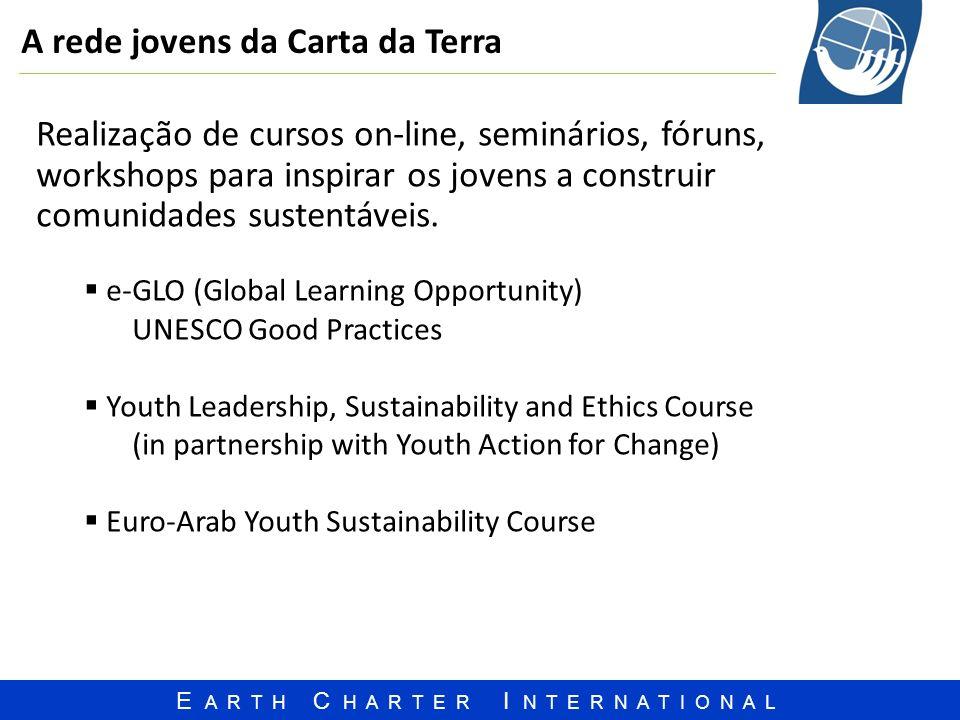 E A R T H C H A R T E R I N T E R N A T I O N A L A rede jovens da Carta da Terra Realização de cursos on-line, seminários, fóruns, workshops para ins