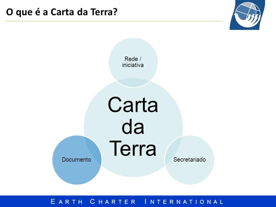 E A R T H C H A R T E R I N T E R N A T I O N A L O que é a Carta da Terra? Carta da Terra Rede / iniciativa SecretariadoDocumento