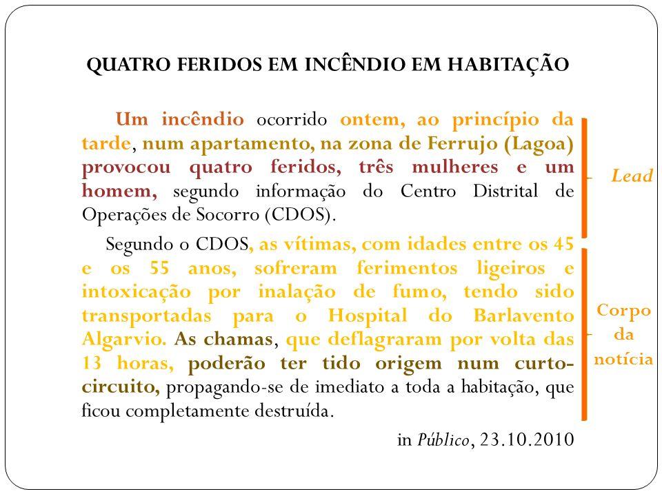 QUATRO FERIDOS EM INCÊNDIO EM HABITAÇÃO Um incêndio ocorrido ontem, ao princípio da tarde, num apartamento, na zona de Ferrujo (Lagoa) provocou quatro