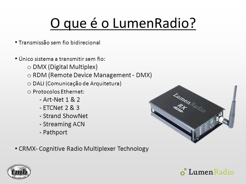 O que é o LumenRadio? Transmissão sem fio bidirecional Único sistema a transmitir sem fio: o DMX (Digital Multiplex) o RDM (Remote Device Management -