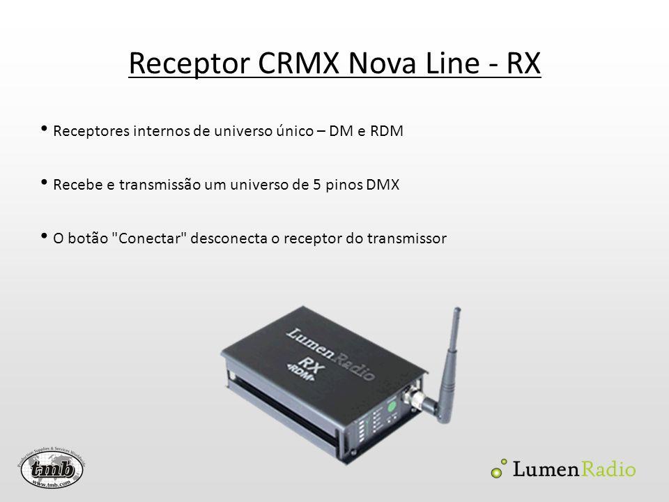 Receptor CRMX Nova Line - RX Receptores internos de universo único – DM e RDM Recebe e transmissão um universo de 5 pinos DMX O botão