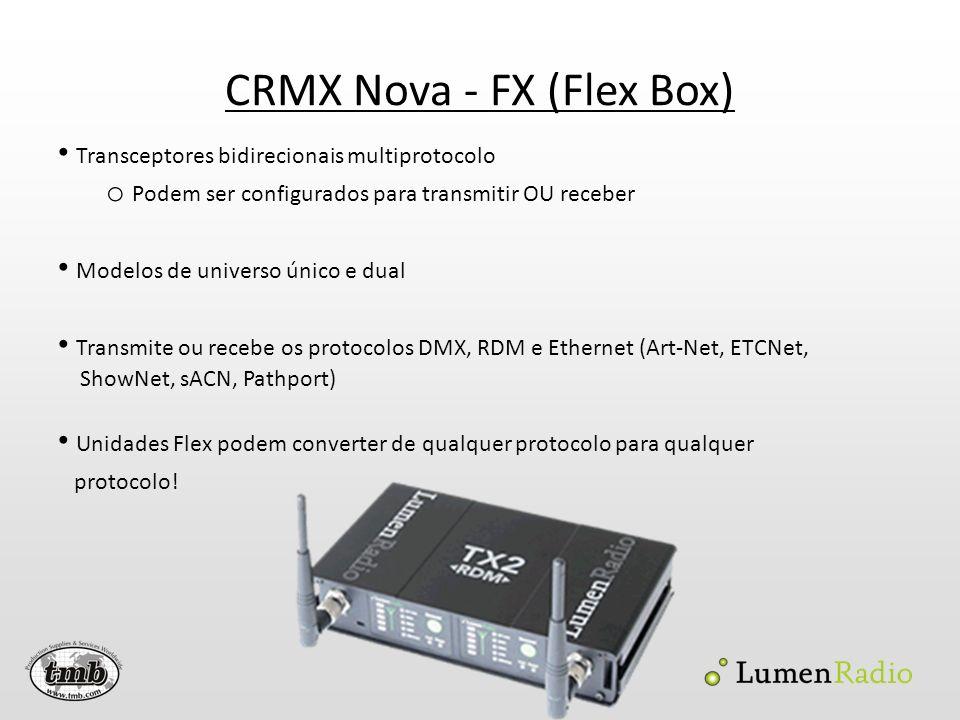 CRMX Nova - FX (Flex Box) Transceptores bidirecionais multiprotocolo o Podem ser configurados para transmitir OU receber Modelos de universo único e d
