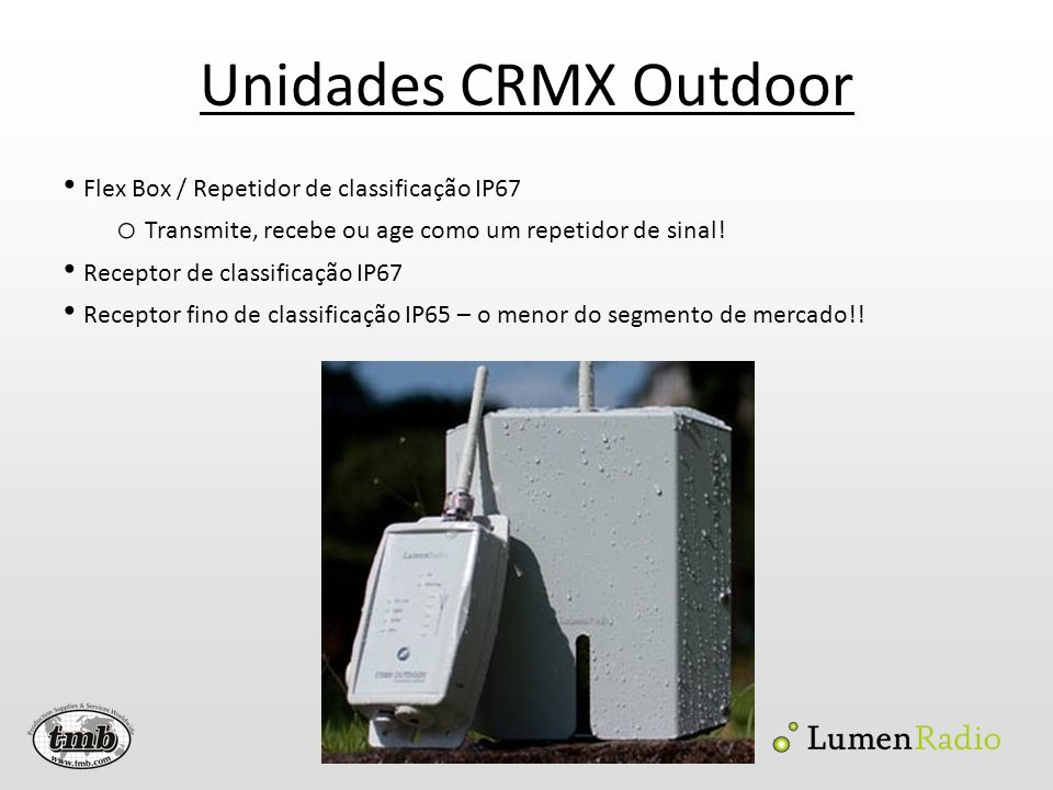 Unidades CRMX Outdoor Flex Box / Repetidor de classificação IP67 o Transmite, recebe ou age como um repetidor de sinal! Receptor de classificação IP67