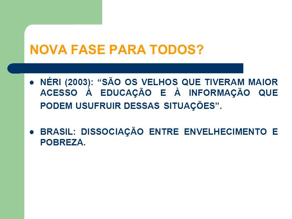 NÉRI (2003): SÃO OS VELHOS QUE TIVERAM MAIOR ACESSO À EDUCAÇÃO E À INFORMAÇÃO QUE PODEM USUFRUIR DESSAS SITUAÇÕES. BRASIL: DISSOCIAÇÃO ENTRE ENVELHECI
