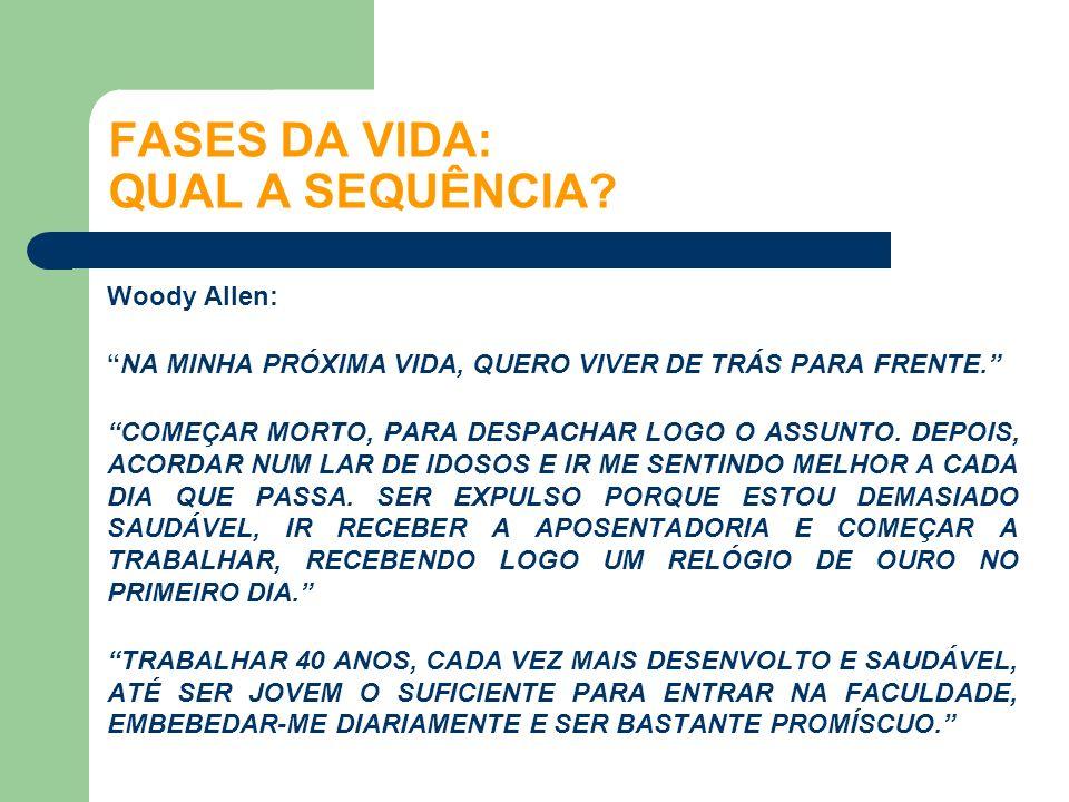Woody Allen: NA MINHA PRÓXIMA VIDA, QUERO VIVER DE TRÁS PARA FRENTE. COMEÇAR MORTO, PARA DESPACHAR LOGO O ASSUNTO. DEPOIS, ACORDAR NUM LAR DE IDOSOS E