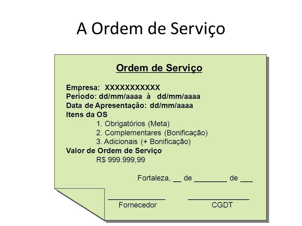A Ordem de Serviço Ordem de Serviço Empresa: XXXXXXXXXXX Período: dd/mm/aaaa à dd/mm/aaaa Data de Apresentação: dd/mm/aaaa Itens da OS 1. Obrigatórios