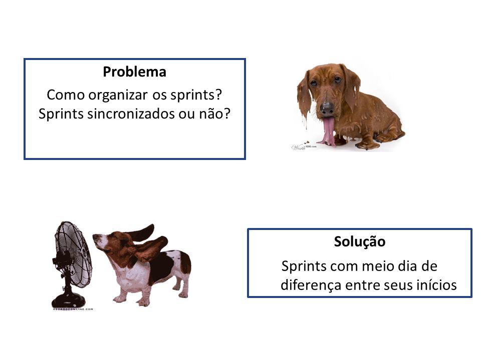 Problema Como organizar os sprints? Sprints sincronizados ou não? Solução Sprints com meio dia de diferença entre seus inícios