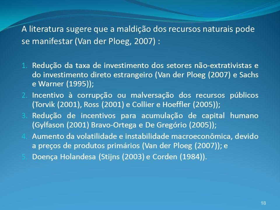18 A literatura sugere que a maldição dos recursos naturais pode se manifestar (Van der Ploeg, 2007) : 1. Redução da taxa de investimento dos setores
