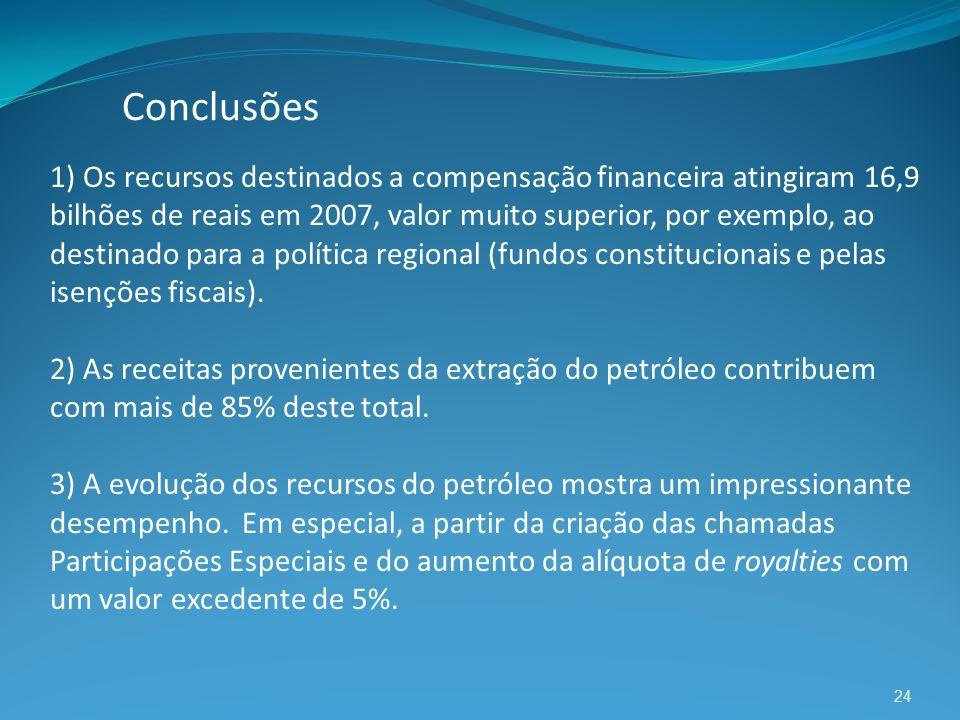 24 1) Os recursos destinados a compensação financeira atingiram 16,9 bilhões de reais em 2007, valor muito superior, por exemplo, ao destinado para a